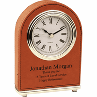 Personalized Rawhide Arch Style Desk Clock