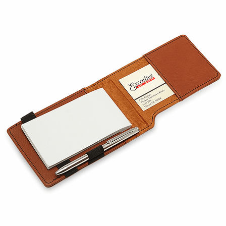 Personalized Rawhide Leatherette Notepad & Pen