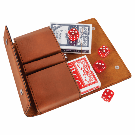 Personalized Rawhide Playing Cards & Dice Set