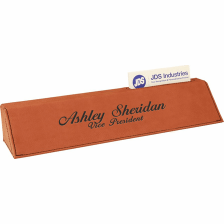 Personalized Rawhide Tone Desk Wedge with Business Card Holder