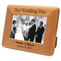 Personalized Red Alder Our Wedding Day Picture Frame