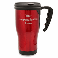 Personalized Red Travel Coffee Mug With Handle