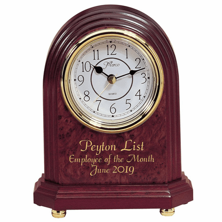 Personalized Rosewood and Brass Dome Style Mantle Clock