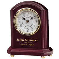 Personalized Rosewood and Brass Mantle Clock