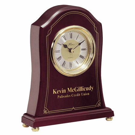 Personalized Rosewood and Brass Tambour Mantle Clock