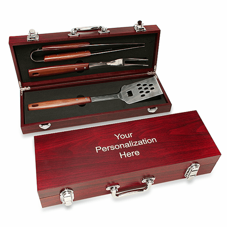 Personalized Rosewood Barbecue Set