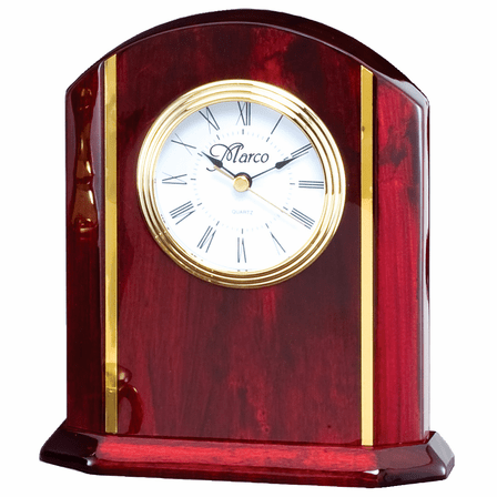 Personalized Rosewood Desk Clock With Gold Accents