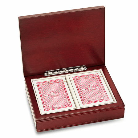 Personalized Rosewood Finish Playing Card Box