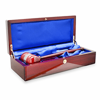 Personalized Rosewood Gavel & Sounding Block Gift Set With Silver Band