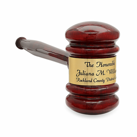 Personalized Rosewood Gavel With Gold Band & Sounding Board