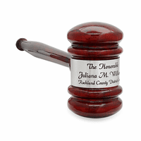 Personalized Rosewood Gavel With Silver Band