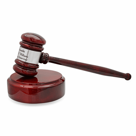 Personalized Rosewood Gavel With Silver Band & Sounding Board