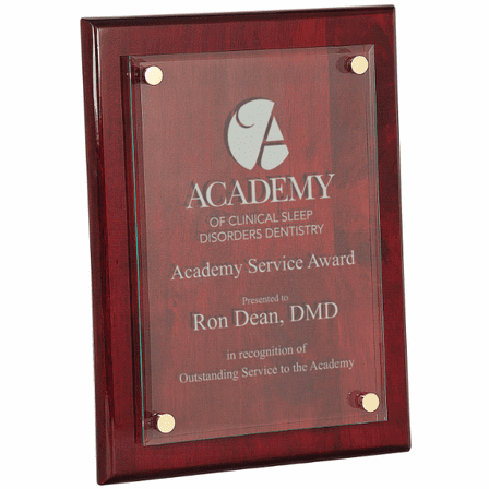 Personalized Rosewood Plaque With Floating Jade Glass