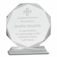 Personalized Round Facet Crystal  Award