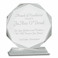 Personalized Round Facet Crystal Recognition Award