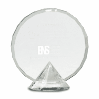 Personalized Round Facet Crystal  with Crystal Diamond Base