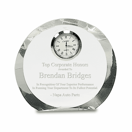 Personalized Round Premier Crystal Clock