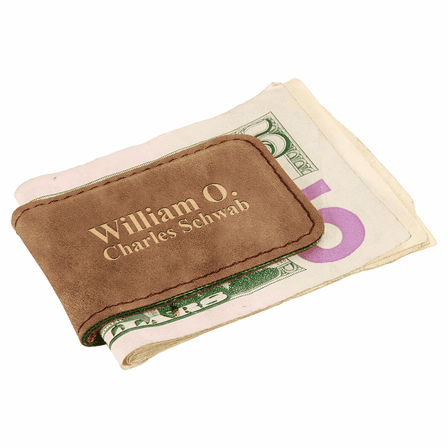 Personalized Rustic Brown Magnetic Money Clip