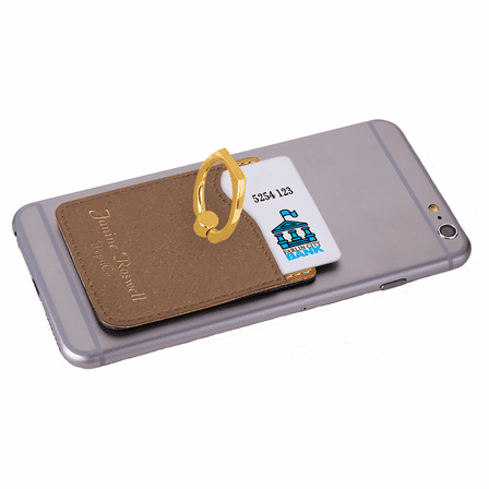 Personalized Rustic Brown Phone Wallet with Ring