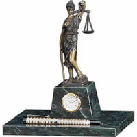 Personalized Scales of Justice Desktop Clock & Pen Holder