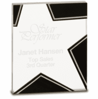 Personalized Silver & Black Glass Rising Star Award