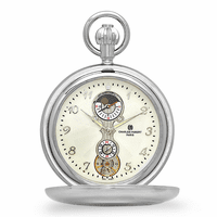 Personalized Silver Mechanical Charles Hubert Pocket Watch & Chain #3674
