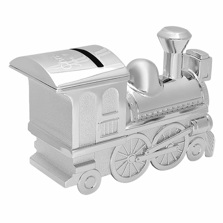 Personalized Silver Plated Train Bank
