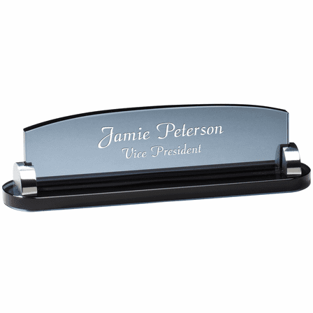 Personalized Smoked Glass Desktop Name Plate