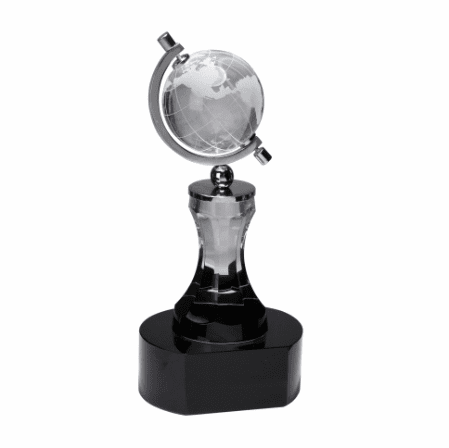 Personalized Spinning Crystal Globe On Black Pedestal