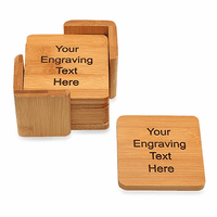 Personalized Square Bamboo Coaster Set
