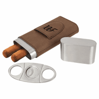 Personalized  Steel Cigar Case with Cutter with Dark Brown Wrap