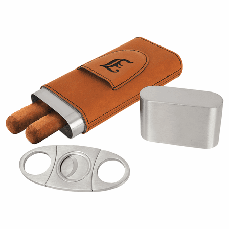 Personalized  Steel Cigar Case with Cutter with Rawhide Wrap