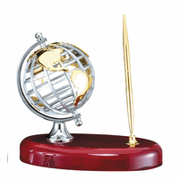 Personalized Steel Globe Pen Stand
