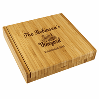 Personalized Vineyard Bamboo Cheese Set With Tools