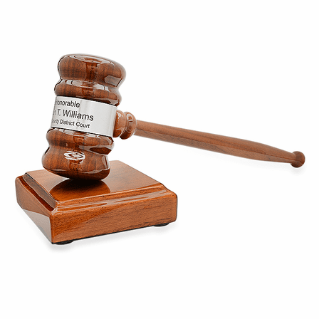 Personalized Walnut Gavel & Sounding Block Gift Set With Silver Band
