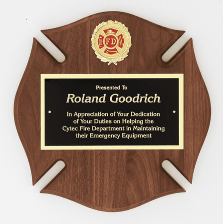 Personalized Walnut Maltese Cross Firefighter's Plaque