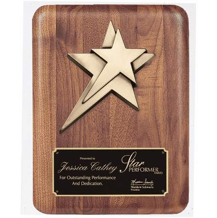 Personalized Walnut Star Plaque