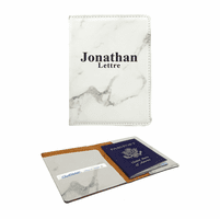 Personalized White Marble Leatherette Passport Holder