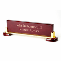 Personalized Wood & Brass Desktop Name Plate