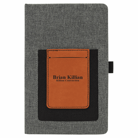 Personalized Writing Journal with Rawhide Cell Phone & Card Slot