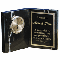 Personalized Zebra Marble Book Style Desk Clock