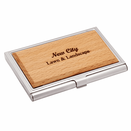 Personalized Zinc & Maple Engravable Business Card Case
