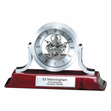 Piano Finish & Brushed Silver Personalized Desk Clock