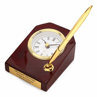 Piano Finish Personalized Desk Clock & Pen Set