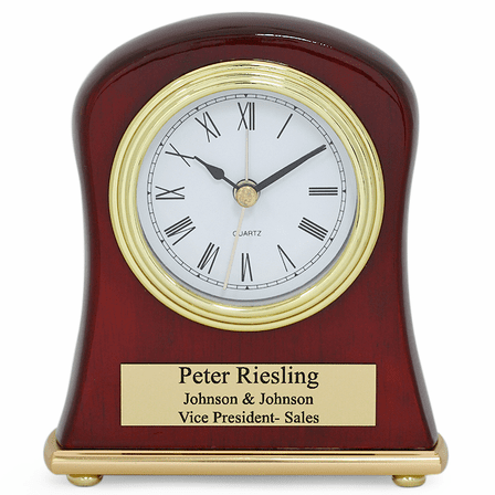 Piano Finish Rosewood Bell Shaped Personalized Desk Clock
