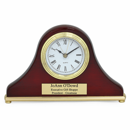 Piano Finish Rosewood Personalized Mini Mantel Clock