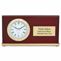 Piano Finish Rosewood Personalized Rectangular Desk Clock