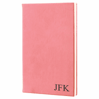Pink Journal with Black Satin Bookmark with Personalized Initials
