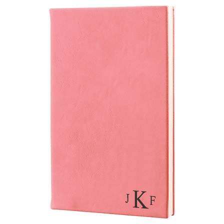 Pink Journal with Black Satin Bookmark with Roman Monogram