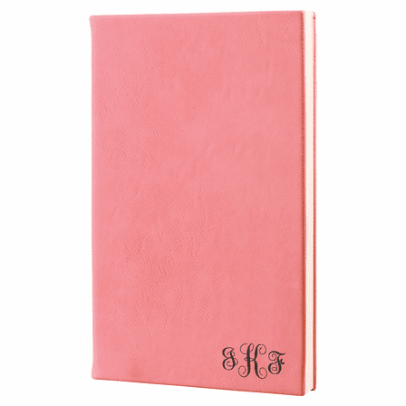 Pink Journal with Black Satin Bookmark with Script Monogram
